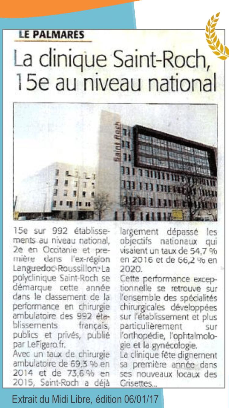 Clinique Saint ROCH au 15ème rang du classement National